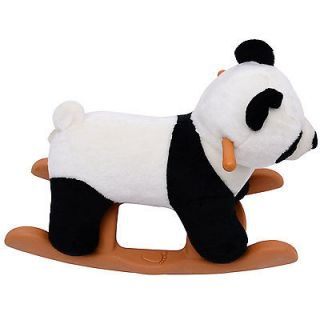 Qaba Baby Kids Toy Plush Rocking Horse Style Panda Bear Theme Riding Rocker