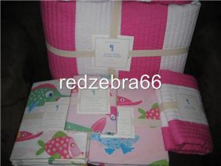 Pottery Barn Kids Girl Pink Rugby Stripe Twin Quilt Sham Funny Fish Sheet Duvet