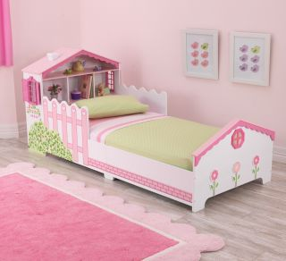 KidKraft Pink Dollhouse Wood Toddler Kids Cot Bed with Shelves 76254