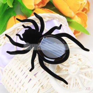 8x Black Sunlight Solar Power Spider Insect Bug Kids Gift Educational Toy