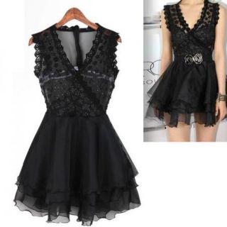 Hot Sexy Women Sleeveless Lace Cocktail Evening Clubwear Party Ball Gown Dress