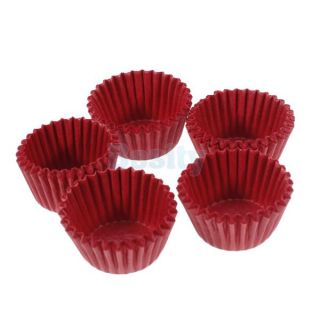 75 Mini Plain Red Cake Chocolate Paper Cases Cupcake Liners Baking Cups Wraps