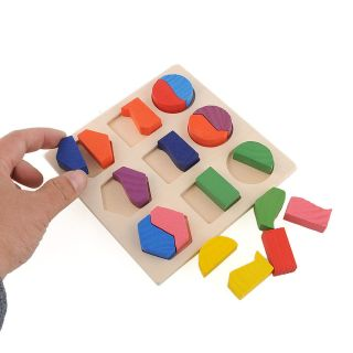 Wood Geometry Block Puzzle Early Learning Educational Preschool Toy Kids Baby