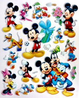Disney Mickey Toy Story Marie Cat Thomas Friends Kids 3D Decor Stickers Decals
