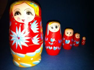 5 Russian Girls Babushka Matryoshka Wood Doll Kids Art Paint Thimbles Toy Decor