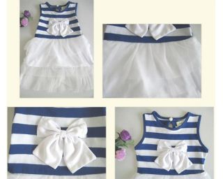 Kid Girls Striped Bow Princess Pleated Party Dress Sleeveless Tutu Bubble Skirt