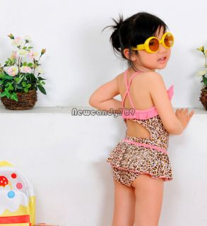 Baby Girls Toddler Swimwear Leopard Bikini Kids Bathing One Piece Swimsuit NC89