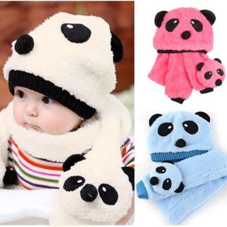 1 3 Colors Korean Panda Pattern Cute Baby Kids Toddler Unisex Warm Hat Scarf Set