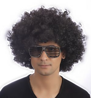 60s 70s Unisex Men Ladies Black Large Afro Wig Funky Disco Fancy Dress Costume