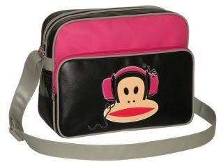 New Paul Frank Julius Monkey Headphones Black Pink Shoulder School Sports Bag