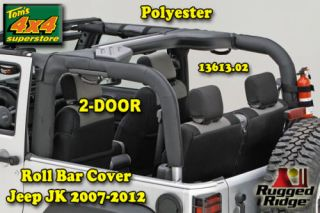 13613 02 Roll Bar Cover Black Polyester 2007 2012 Jeep Wrangler 2 Door