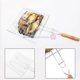 Promotion Barbecue Fish Grilling Basket Folder Tool Roast for Two Double Fishes