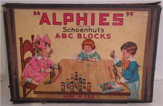 Antique Schoenhut Alphies ABC Blocks Wood Box 1916 Play Toy Schoenhuts Kids Toys
