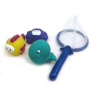 Baby Kids Bath Time Play Set Storage Net Fish Fishing Game Rubber Toy Gift New
