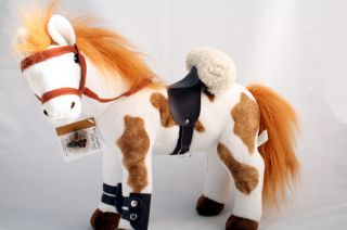 Pinto Horse w Saddle Stuffed Animal Soft Plush Toy New