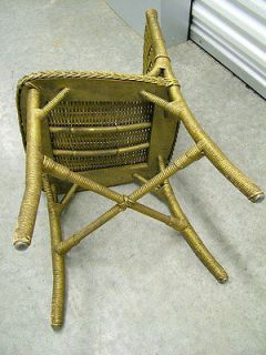 Vintage 1930s Antique Gilt Gold French Art Deco Wicker Vanity Boudoir Side Chair