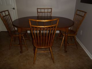 Antique Ethan Allen Circa 1776 Maple Bird Cage Dining Room Table 4 Chairs