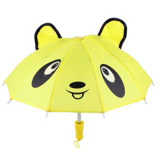 Child Kids Bear Ears Accent Metal Frame Mini Rain Umbrella Toy Yellow