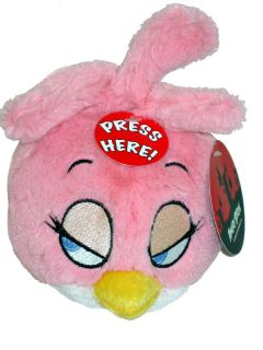 Angry Birds Rio Pink Girls Plush Toy Stuffed Figure 5'' with Sound Collection