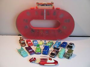 Orignal Disney Pixar Diecast Cars Carrying Case Lot Mini Lightning McQueen R C