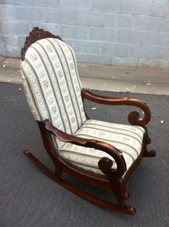 Antique Hand Made Upholstered Rocking Chair Heavy Duty Nursing Local P U Only