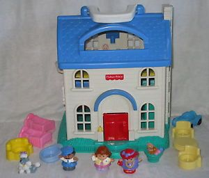 Fisher Price Little People Sweet Home Dollhouse Furniture Car Dog Baby Grandma