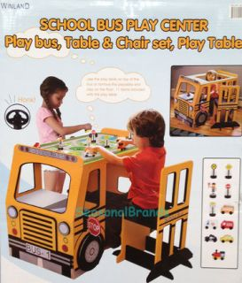 ★new★ Kids School Bus Play Center Table Chair Desk Furniture Playset Pretend