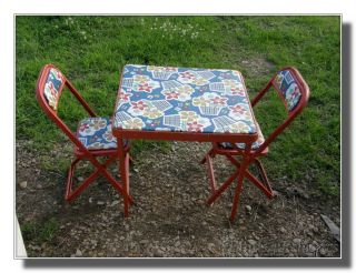 Vintage Metal Childs Kids Folding Table Chairs