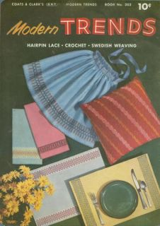 Vintage 1950s Swedish Weaving Hairpin Lace Crochet Patterns Pillows Place Mats