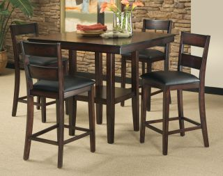 5 Piece Counter Height Dining Room Set Table Chair Dinette Furniture Rustic New