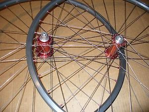 "Mavic X517 26"" Red Chris King Hubs Front Rear MTB Wheels Rim Brakes"