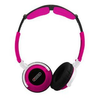 Sentry Head Art DJ Style Over The Head Headphones Pink Full Size Mega Bass HO403