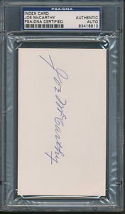 Joe McCarthy Index Card PSA DNA Certified Authentic Auto Autograph Signed 8613