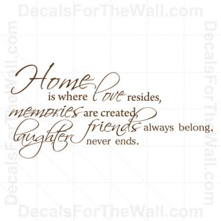 Home Is Where Love Resides Memories Family Wall Decal Vinyl Sticker Quote F65