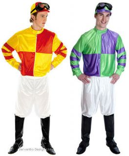 Mens Jockey Horse Racing Fancy Dress Costume Outfit Red Yellow Green Purple
