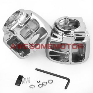 Chrome Switch Housings Cover for 96 06 Harley Davidson Softail Dyna Touring Pair