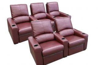 Eros Home Theater Seating 5 Burgundy Seats Push Back Recliner Chairs