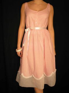 S M Sheer Vintage 50s 60s Pink Stripe Organdy Lace Sun Dress Day Gown Nightgown