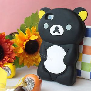 Cute Black 3D Teddy Bear Silicone Skin Case Cover Apple iPhone 4 4G 4S Accessory
