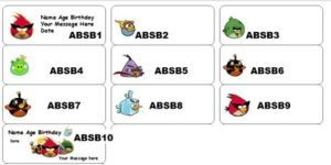 30 Personalized Angry Birds Space Birthday Bubble Favor Labels