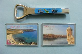 Malta 2 Landscape View Fridge Magnet Bottle Opener Cork Souvenir Gift L K