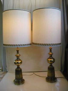 Pair Rembrandt Table Palace Lamps Glass Brass Vtg Signed Museum Quality Milk