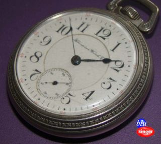 Antique Hampden Watch Co 23 Jewel Pocket Watch Keystone Silver Base Metal Case