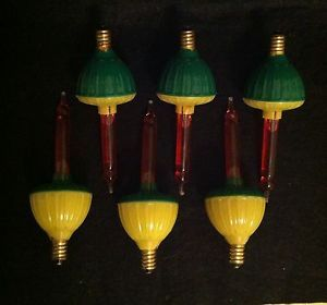 6 Vintage Bubble Christmas Tree Light Bulbs C 7