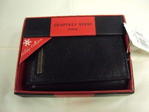 NWB Geoffrey Beene Men Trifold Leather Wallet Black $40 Valentine Day Gift