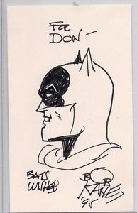 Bob Kane Original Signed Autograph Sketch Art Batman Joker Robin Index Card