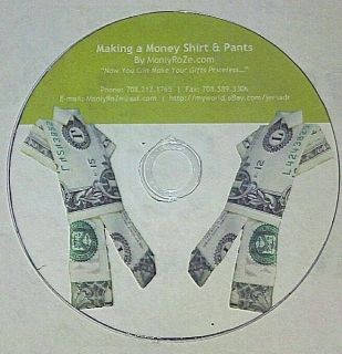 How to Make A Money Shirt Pants Suite Set Instructional DVD by Moniyroze