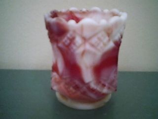 Imperial Rose Red and Milk Glass Slag Toothpick Holder with Maker Label
