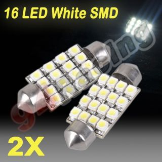 2X 42mm Car Interior 16 LED White SMD Light 3528 Dome Lamp Bulbs
