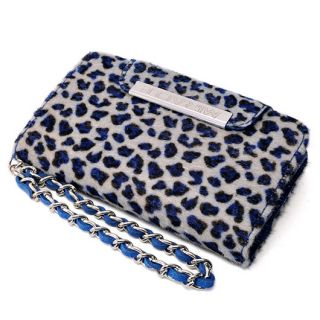 Leopard Print Fur Leather Case Cover Flip Diary Wallet Apple iPhone 4 4S 4G Navy